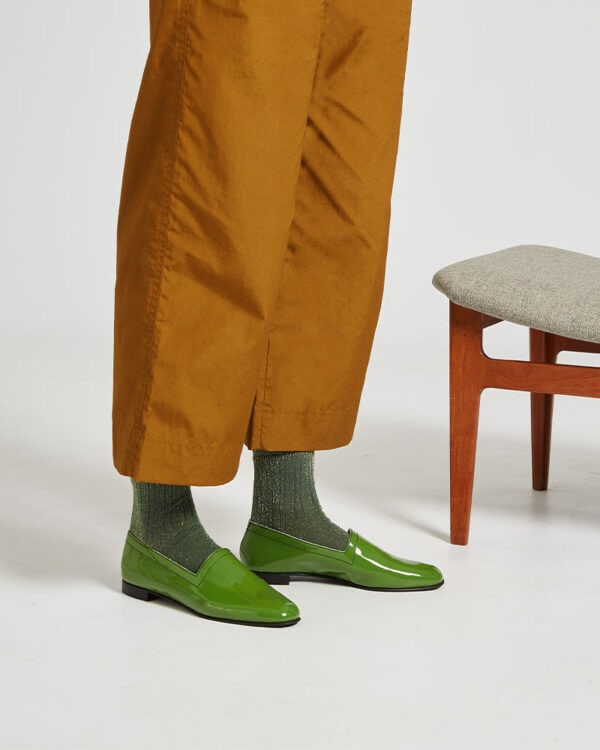 Ops&Ops No10 Avocado patent leather flats worn here with green lurex socks and wide-leg cropped khaki trousers