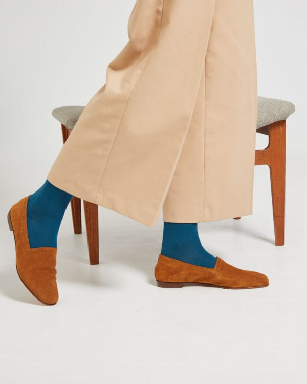 Ops&Ops No10 Toffee suede flats close-up worn here with teal socks and beige wide cropped trousers
