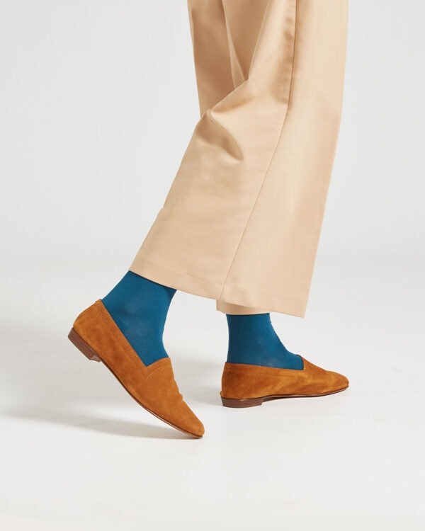 Ops&Ops No10 Toffee suede flats worn here with teal socks and beige wide cropped trousers