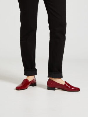Ops&Ops No11 Crimson patent block heels worn with rolled-up black jeans