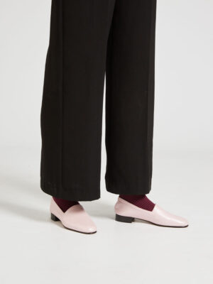 Ops&Ops No11 Pink Frost leather block heels worn with wide-leg navy cropped trousers
