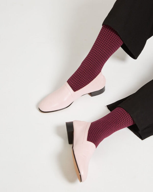 Ops&Ops No11 Pink Frost leather block heels worn with dark crimoson check patterned socks and trousers