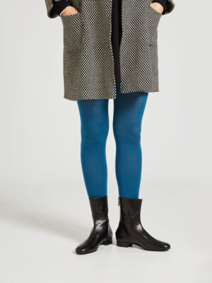 Ops&Ops No12 Classic Black go-go boots worn with blue tights and black and white polka dot three-quarter length coat