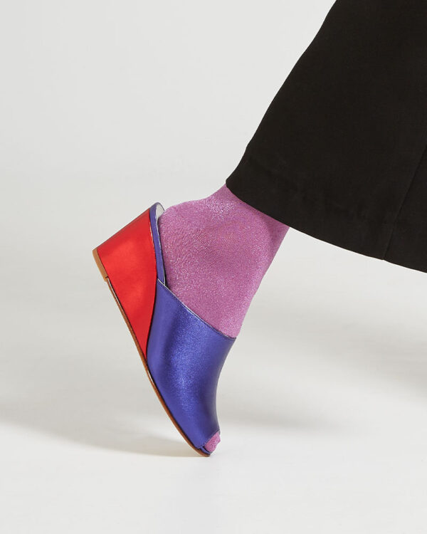 Ops&Ops No15 Metallic Purple leather wedges close-up, seen here with lilac lurex socks