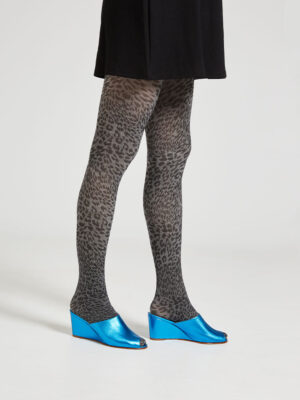Ops&Ops No15 Turquoise leather wedge mules worn with grey animal print tights and short black dress