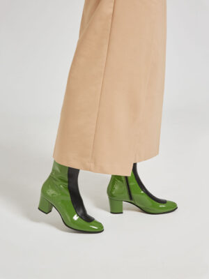 Ops&Ops No16 Avocado mid-heel leather boots worn here with cropped wide-leg tan trousers