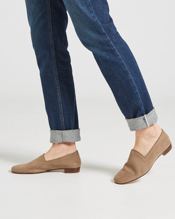 Ops&Ops No17 Mushroom nubuck flats worn with turned up denim jeans