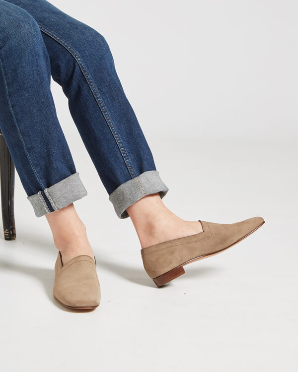 Ops&Ops No17 Mushroom nubuck flats close-up worn with turned up denim jeans