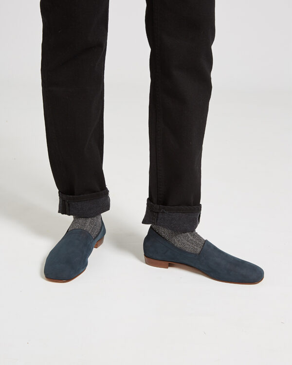 Ops&Ops No17 Petrol nubuck flats worn with grey ribbed lurex socks and turned up black jeans