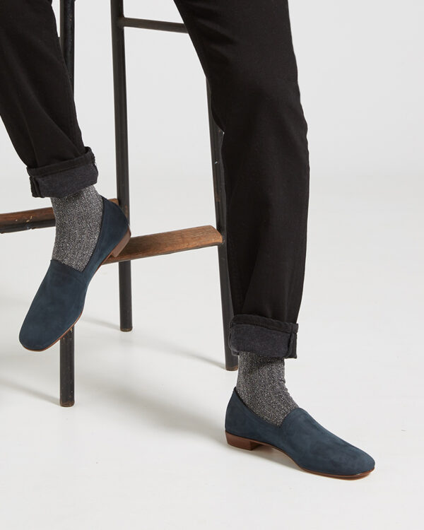 Ops&Ops No17 Petrol nubuck flats sitting worn with grey ribbed lurex socks and turned up black jeans