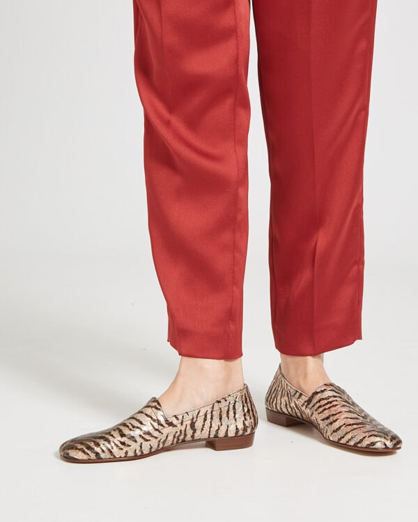 Ops&Ops No17 Tiger Rose leather flats worn with slim-leg rust satin trousers