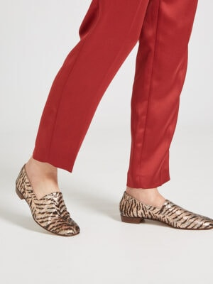Ops&Ops No17 Tiger Rose leather flats stepping out with slim-leg rust satin trousers