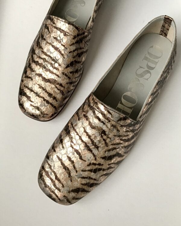 Ops&Ops No17 Tiger Rose patterned leather flats, top view