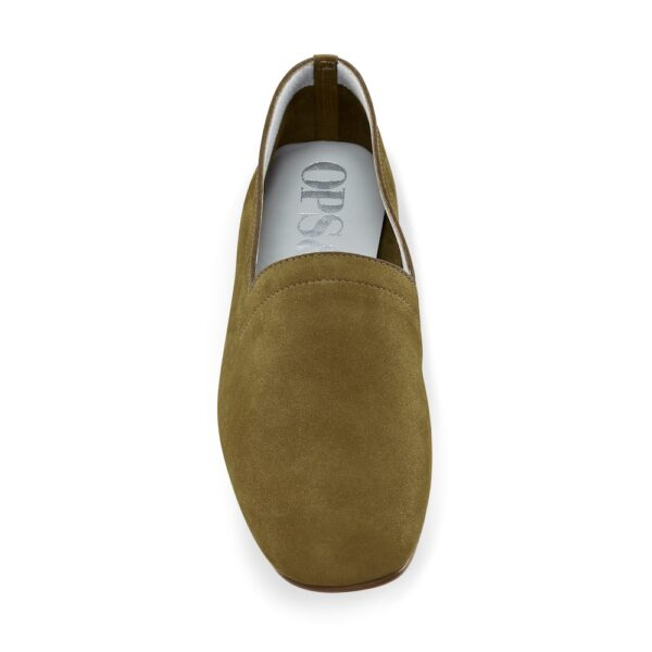 Ops&Ops No17 Olive nubuck flats, front view