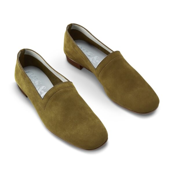 Ops&Ops No17 Olive nubuck flats, pair right