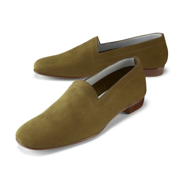 Ops&Ops No17 Olive nubuck flats pair left, side view