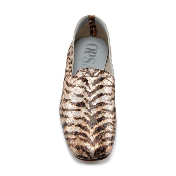Ops&Ops No17 Tiger Rose leather flats, front