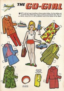 Go-Girl paper doll and costumes from Bunty comic