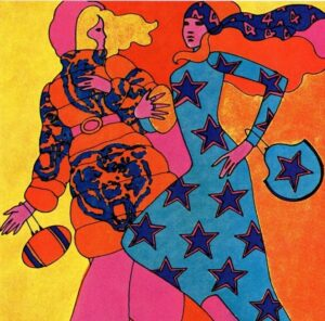 Fashion illustration for NFL ad by Peter Max 1969
