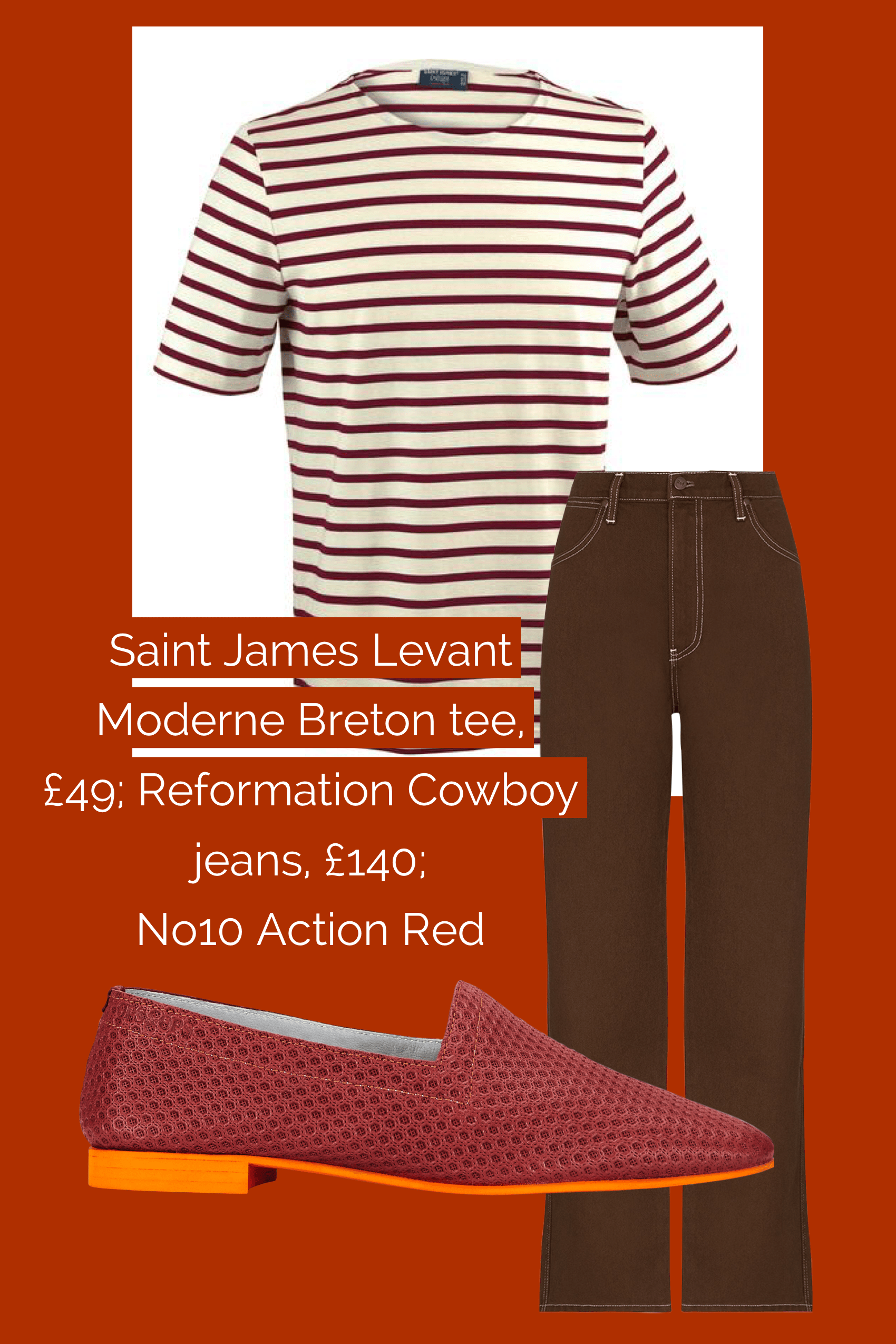 Ops&Ops No10 Action Red flats teamed with Reformation jeans and Saint James Breton tee
