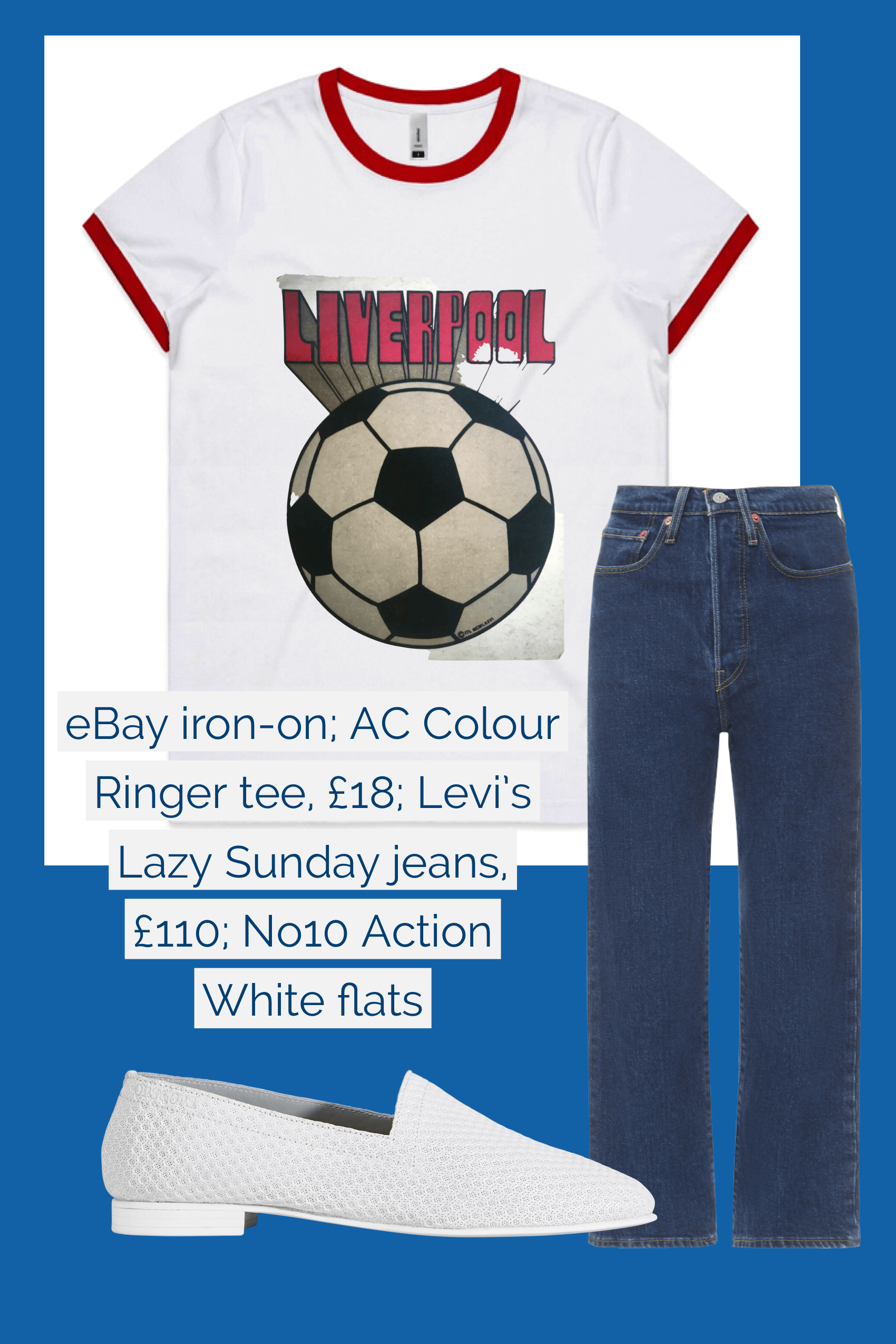Ops&Ops No10 Action White flats teamed with Levi's jeans and AC Colour t-shirt with eBay Liverpool iron-on