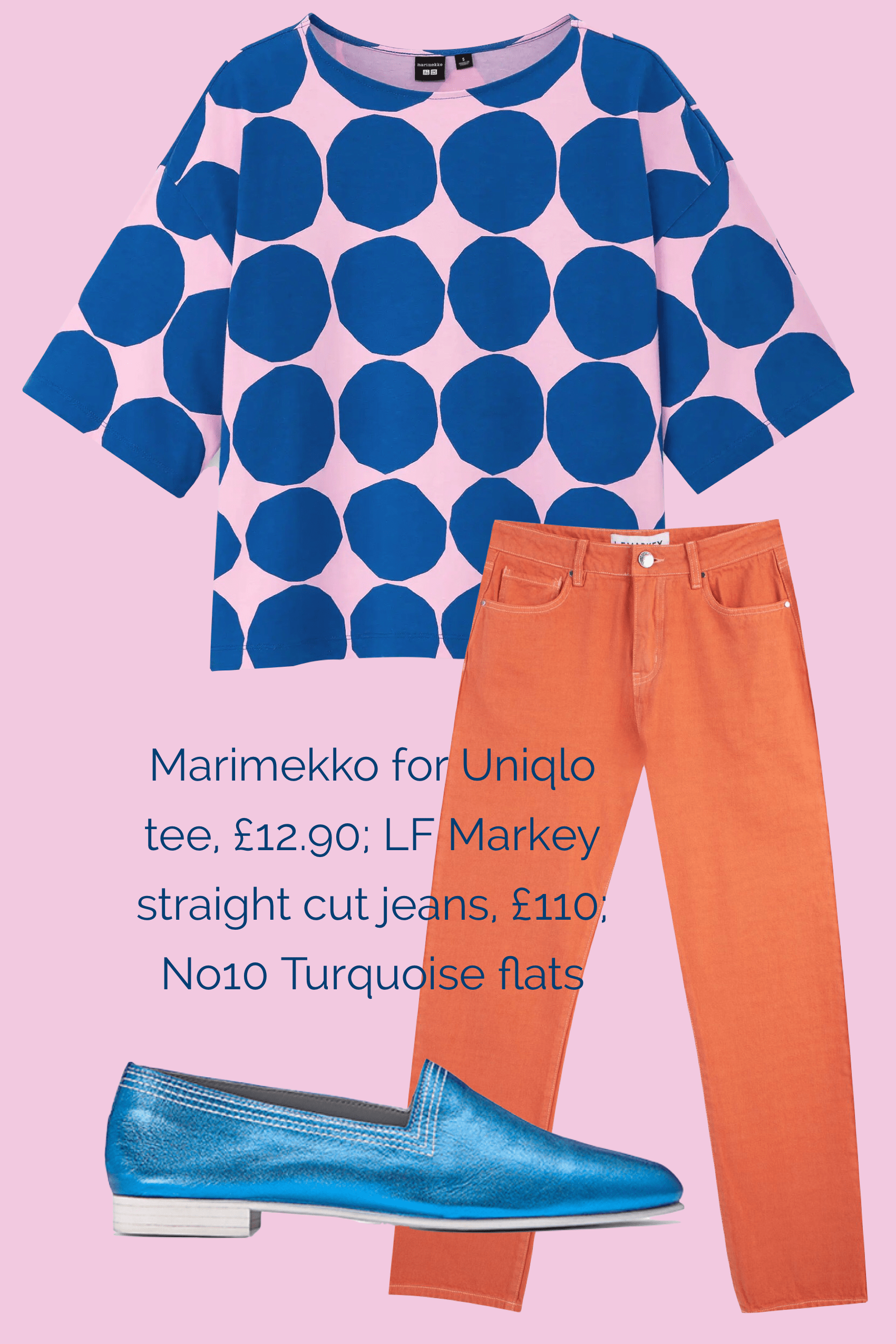 Ops&Ops No10 Turquoise Racer flats teamed with LF Markey jeans and Marimekko for Uniqlo t-shirt