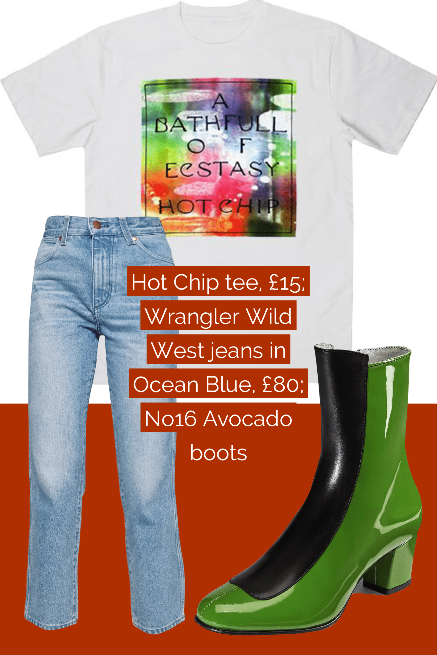 Ops&Ops No16 Avocado boots teamed with Wrangler jeans and Hot Chip t-shirt