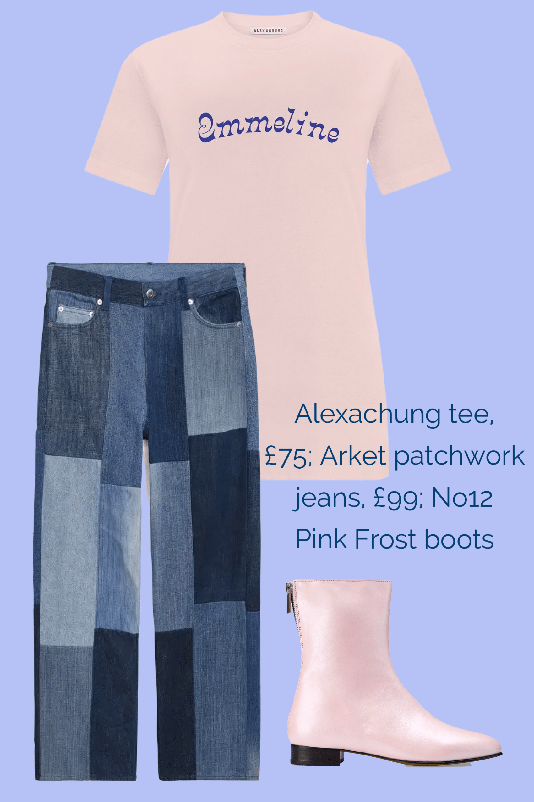 No12 Pink Frost boots teamed with Arket jeans and Alexa Chung T-shirt