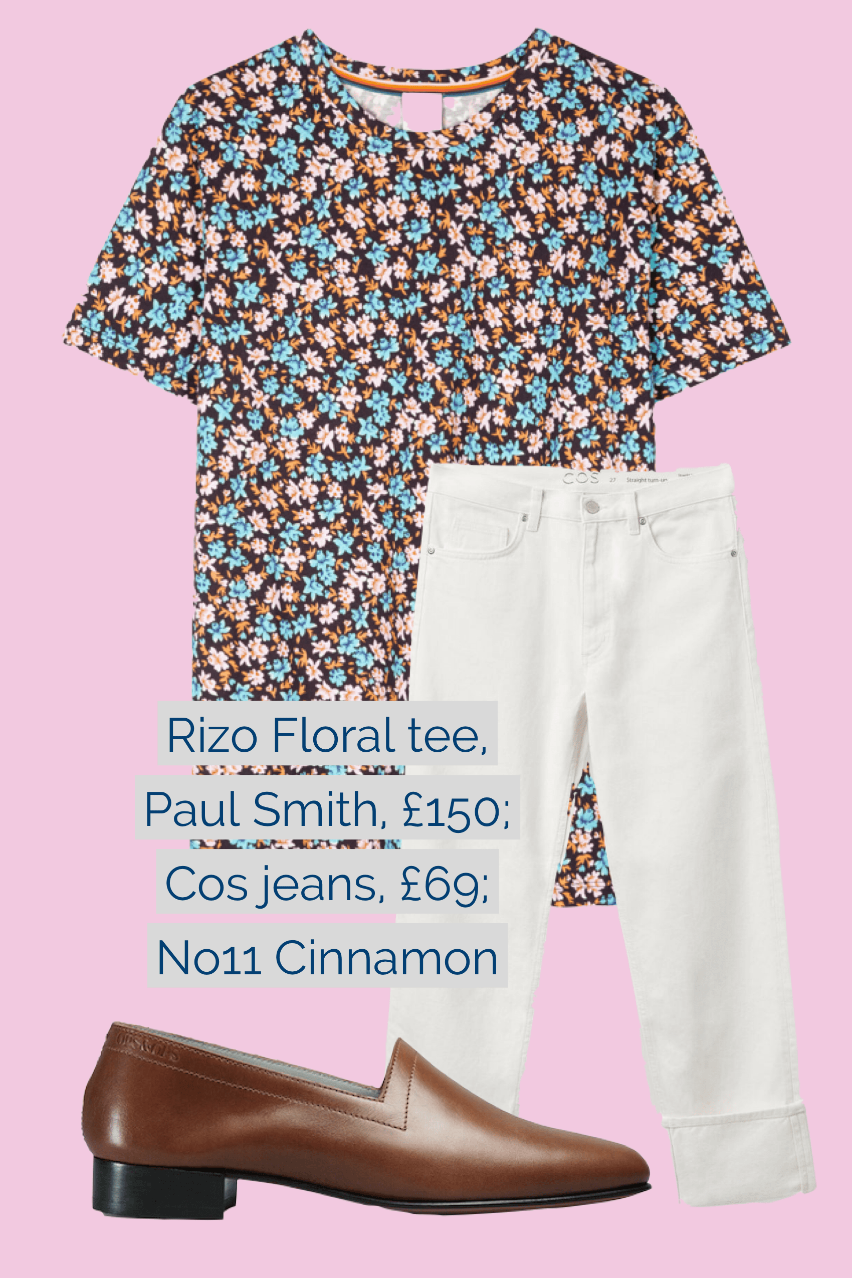 Ops&Ops No11 Cinnamon block heels paired with Cos jeans and Paul Smith Rizo Floral t-shirt