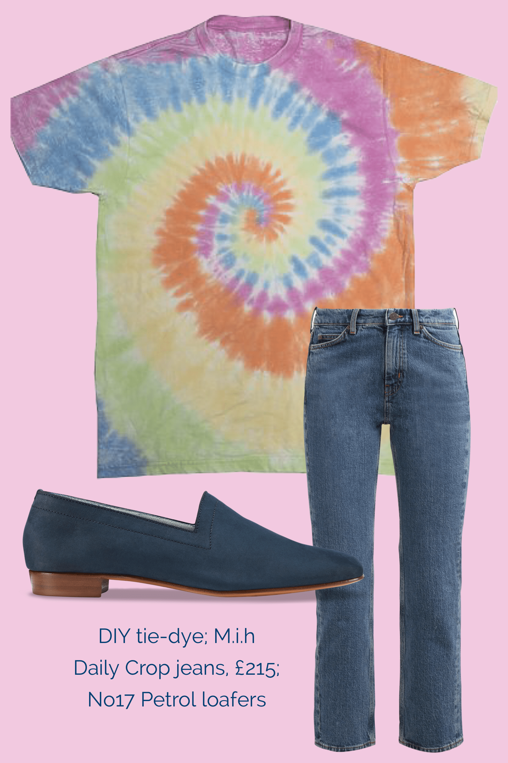 No17 Petrol loafers teamed with Mih jeans and DIY tie-dye tee