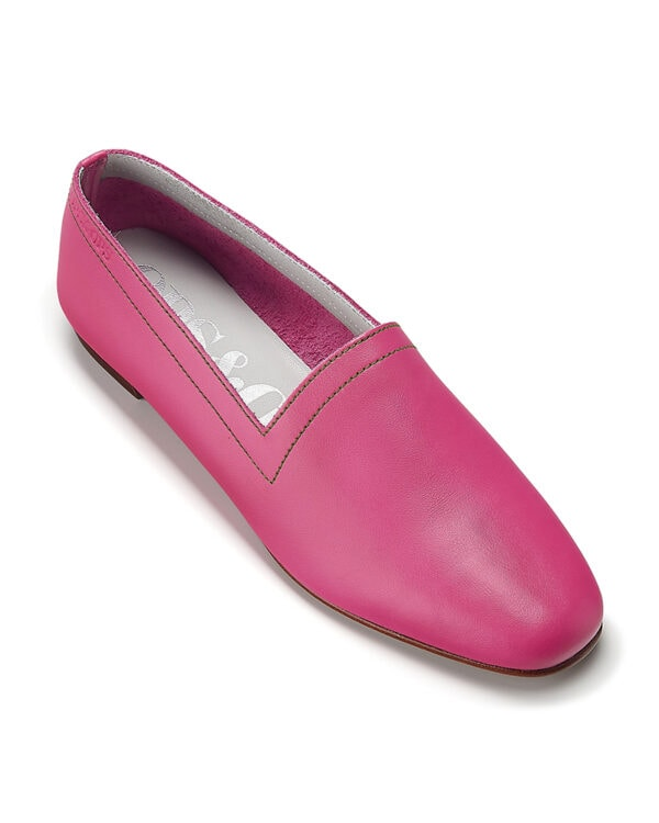 Ops&Ops No 10 Guava leather flats with green topstitch, front view