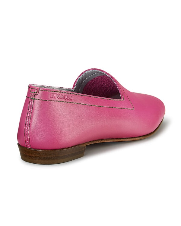 Ops&Ops No 10 Guava leather flats with green topstitch, back view