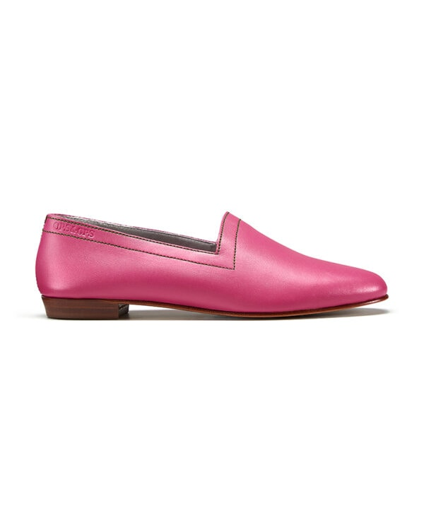 Ops&Ops No 10 Guava leather flats with green topstitch, side view