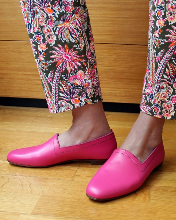 Ops&Ops No 10 Guava flats worn with jeans and blue socks