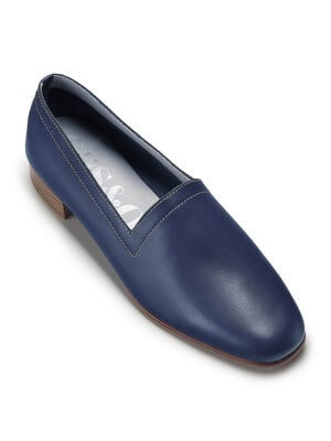 No11 Nautical Navy loafers with ivory topstitch. Flavour of the month for July, front