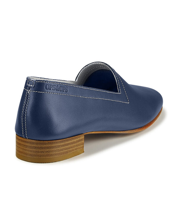 No11 Nautical Navy loafers with ivory topstitch. Flavour of the month for July, back