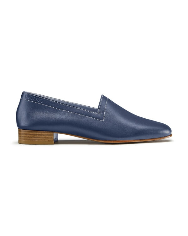 No11 Nautical Navy loafers with ivory topstitch. Flavour of the month for July, side