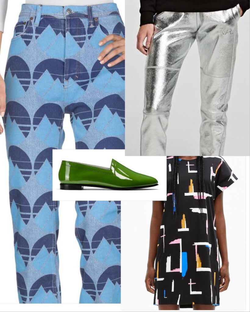 No10 Avocado with patterned Acne jeans, silver Karl Lagerfeld sweatpants and Bimba y Lola dress