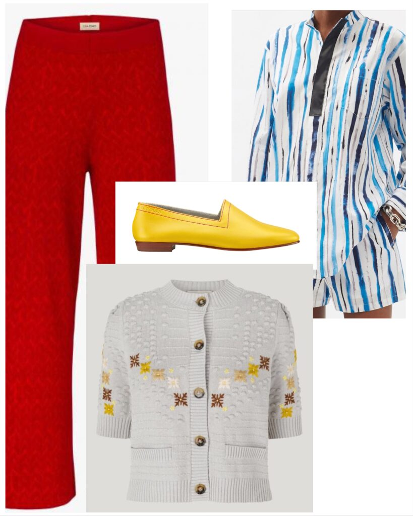 No10 Colman's Mustard with Christopher Kane shorts and shirt, Baum Und Pfergarten cardigan and Clea Stuart trousers