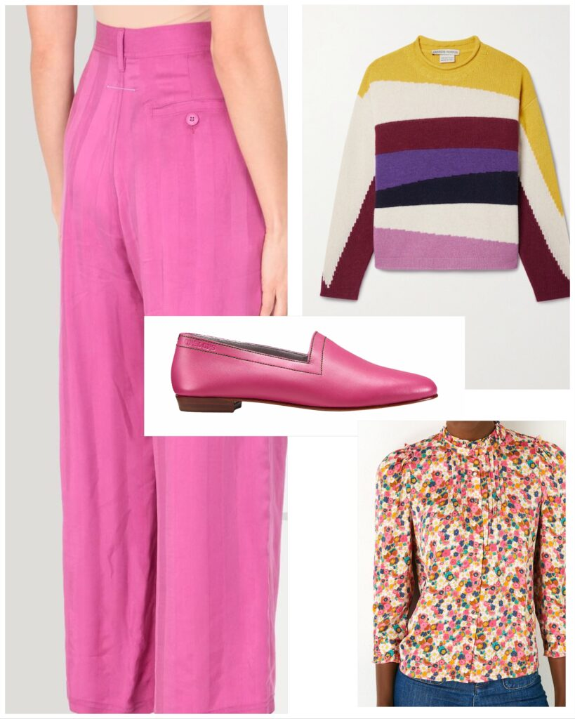 Guava, bold pink shoes with pink trousers, striped jumper and daisy-pattern shirt