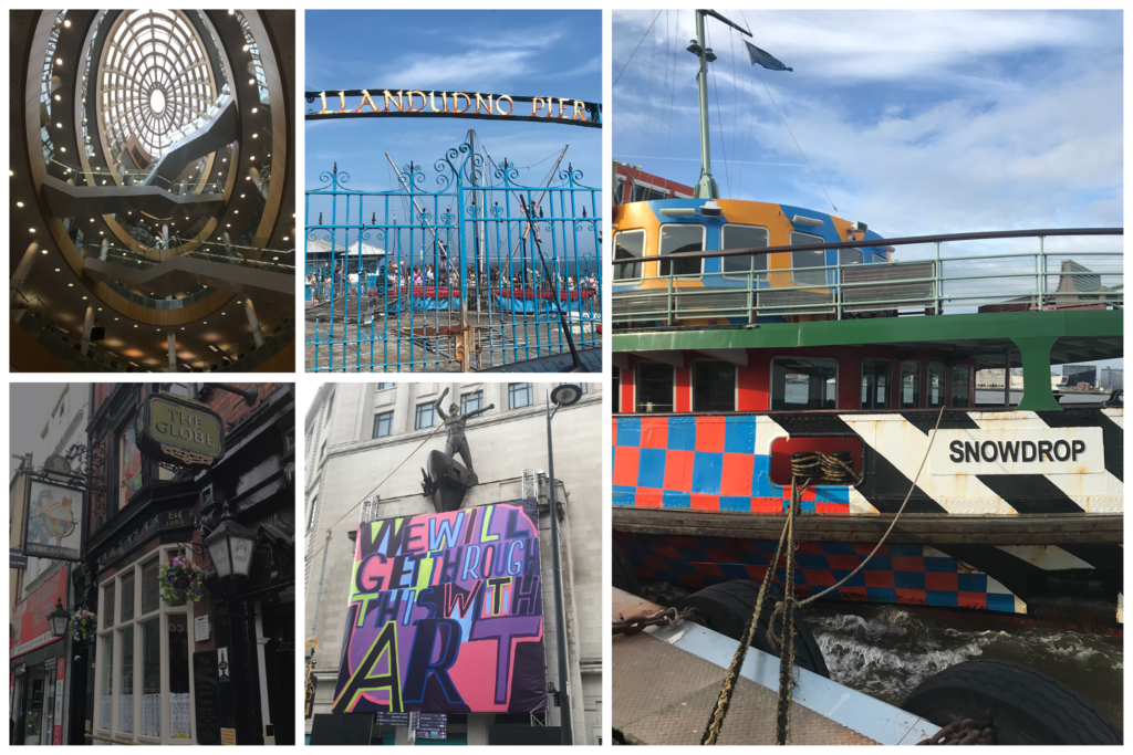 Scenes from Liverpool, Central Library, Llandudon Pier, the ferry, Globe and Art