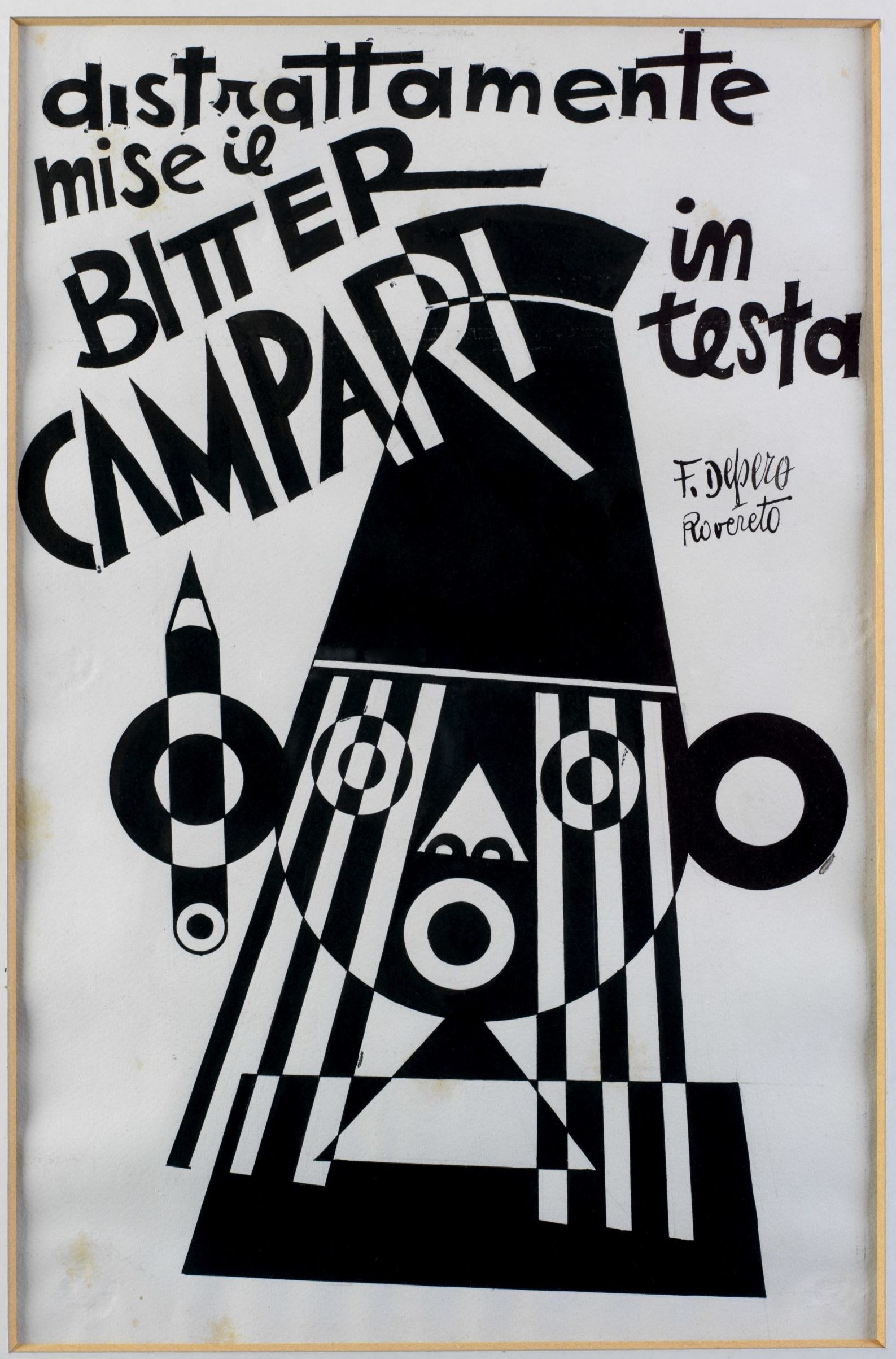 He distractedly put the Bitter Campari on his head), 1928, Fortunato Depero