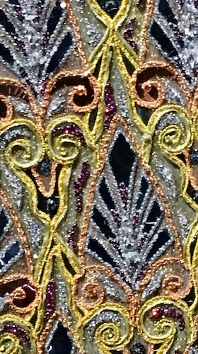 Hand-stitched beadwork up close. Christian Dior: