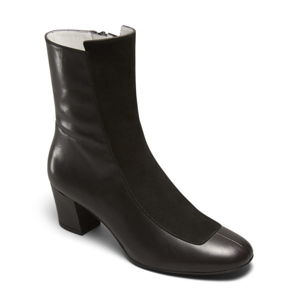 Ops&Ops No16 Black Duo leather and suede mid-heel boots angle view