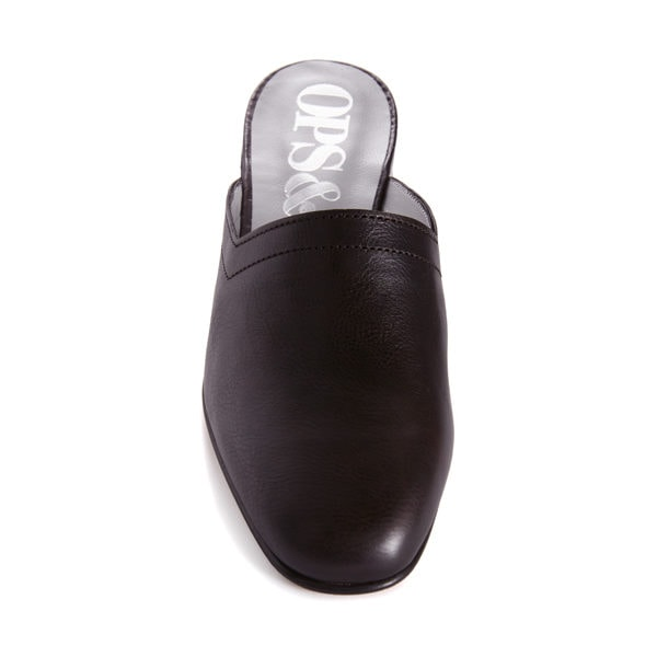 Ops&Ops No13 Matte Black leather slides with black edge, top view