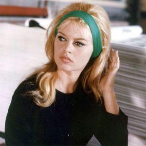 Brigitte Bardot in emerald hairband, Le Mepris by Jean-Luc Godard 1963