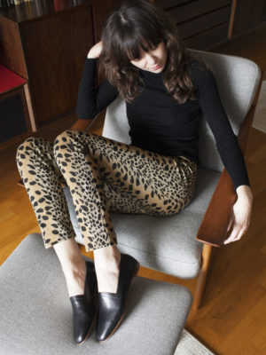 Ops&Ops No10 Classic Black flats with vintage Biba leopard-print trousers
