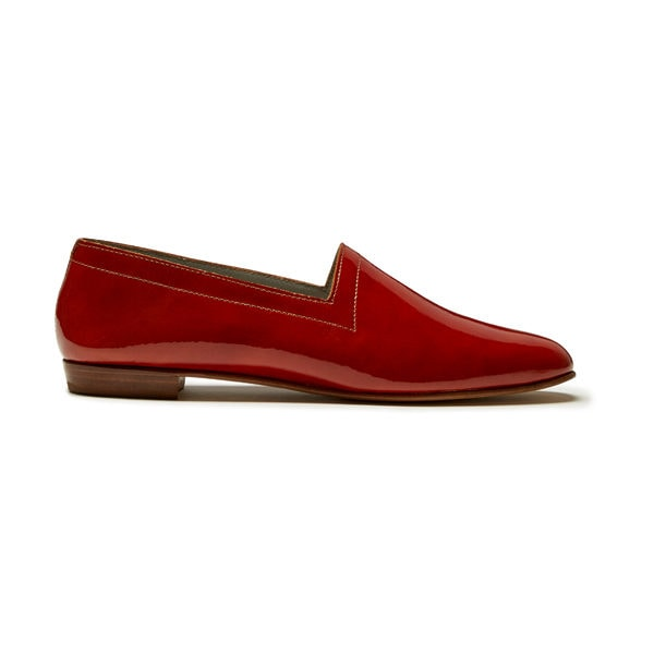Ops&Ops No10 Burnt Orange patent leather flats, side view