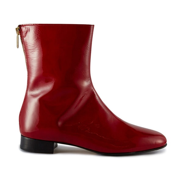 Ops&Ops No12 Dark Cherry patent leather boots, side view