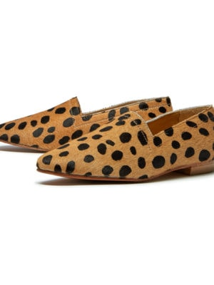 Ops&Ops No14 Cheetah lined ponyskin flats, pair